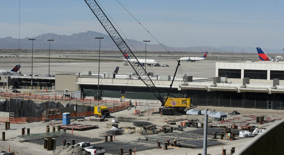 Steve Griffin | The Salt Lake Tribune Construction on the new terminal at the Salt Lake City International Airport in Salt Lake City, Wednesday, March 15, 2017.