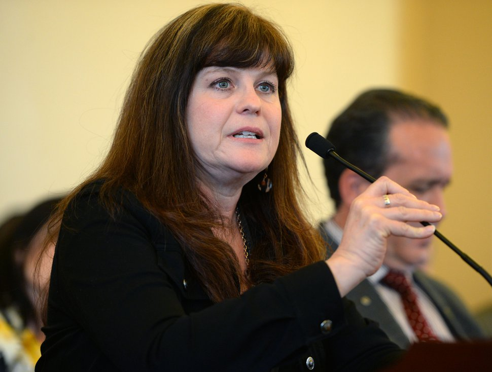 Steve Griffin | Tribune file photo Michelle McOmber, CEO of the Utah Medical Association, speaks in favor of a bill during the Senate Health and Human Services Standing Committee meeting at the State Capitol in Salt Lake City Thursday February 16, 2017.