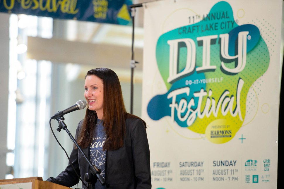 (Trent Nelson | The Salt Lake Tribune) Angela H. Brown, executive director, Craft Lake City, in Salt Lake City on Wednesday, May 29, 2019. After spending 10 years at the Gallivan Center, Craft Lake City announced a new home at the Utah State Fairpark for its annual DIY Festival.