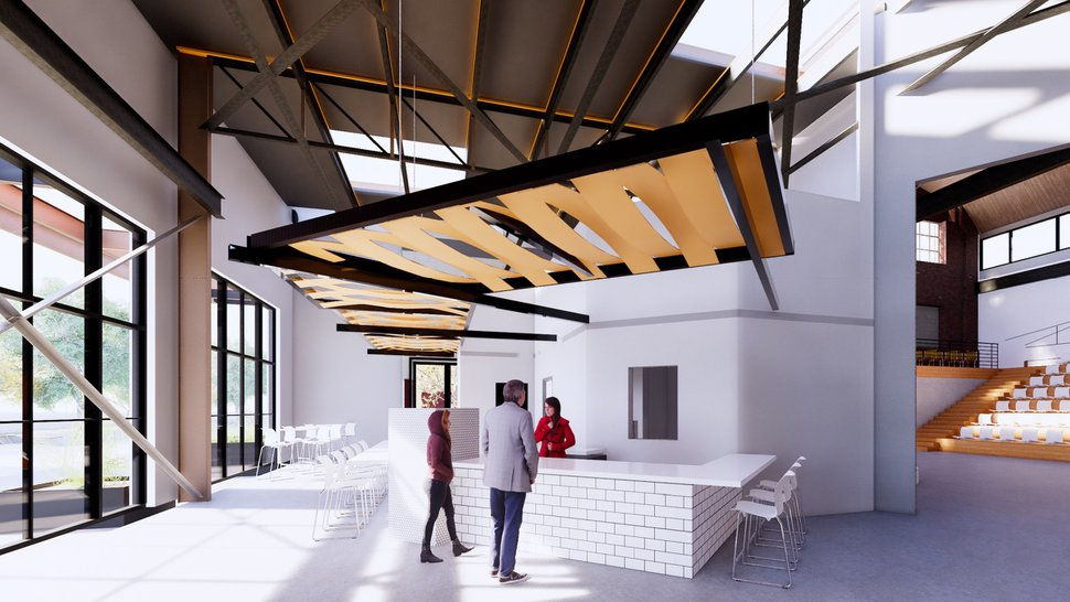 (Image courtesy of INDUSTRY) Rendering of a reception area in new office spaces being built in Salt Lake City's Granary District by a company called Industry, founded by developers Ellen and Jason Winkler. They are overhauling the interior of a 1907-era foundry at about 500 West and 700 South, in what the Winklers say is just a first phase in converting the surrounding industrial area into a neighborhood.