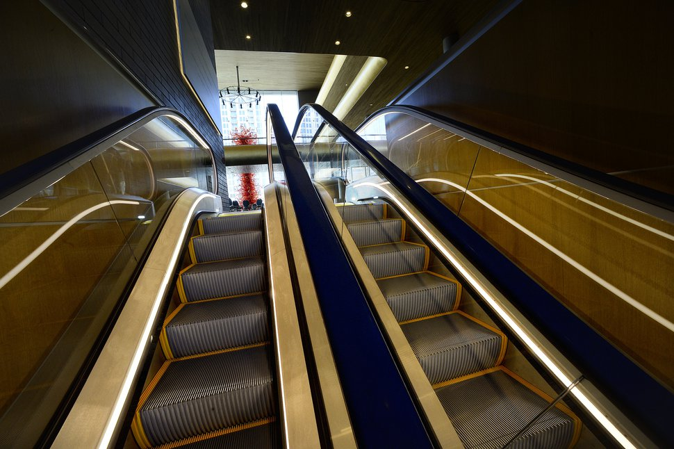(Scott Sommerdorf | The Salt Lake Tribune) The new escalator in the newly renovated Abravanel Hall lobby, Thursday, October 19, 2017.