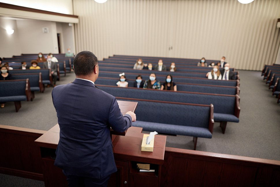 (Photo courtesy of The Church of Jesus Christ of Latter-day Saints) For demonstration purposes, a Utah congregation shows how church attendees could practice appropriate social distancing during a Sunday worship service.