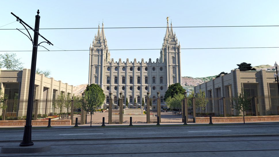 (Courtesy of The Church of Jesus Christ of Latter-day Saints) Rendering of the Salt Lake Temple's south side at street level.