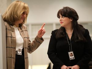 "(Tina Thorpe/FX) Sarah Paulson as Linda Tripp and Beanie Feldstein as Monica Lewinsky in ""Impeachment: American Crime Story."""