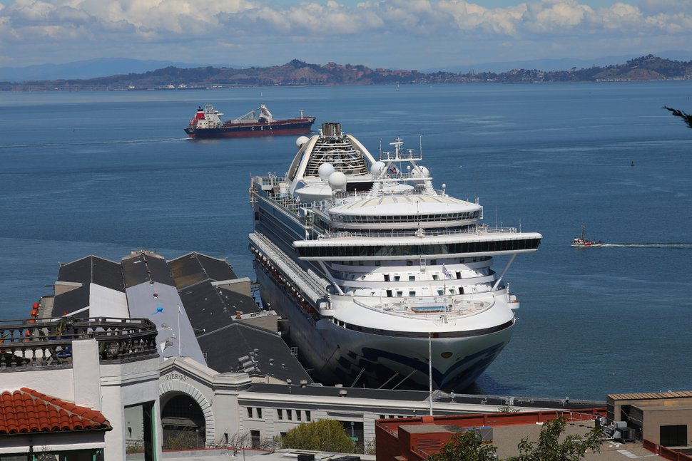 The coronavirus outbreak on the Grand Princess cruise ship, docked in San Francisco, April 7, 2020, could probably be traced to a single person linked to the Washington state cluster a researcher said. (Jim Wilson/The New York Times)
