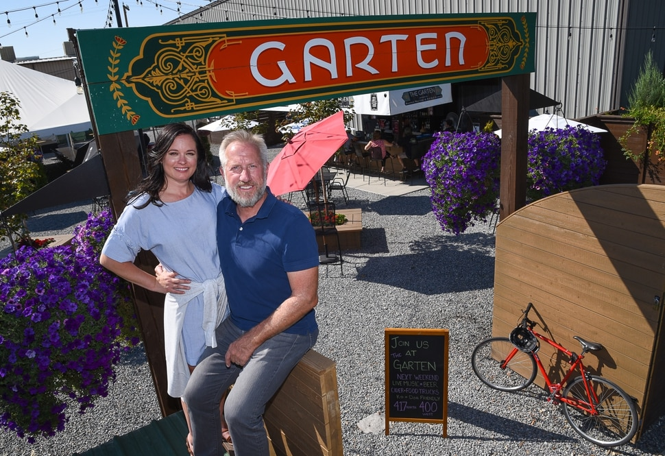 (Francisco Kjolseth | The Salt Lake Tribune) Jeff and Jennifer Carleton, owners of The Garten, a new German-inspired beer garden in Salt Lake City are having a difficult time getting a permanent liquor license from the DABC. They don't qualify for a restaurant liquor license, because the venue doesnÕt have an on-site kitchen. They were denied a reception center license because they need to serve more than just offerings from food trucks. A bar license is an option, but the CarletonÕs would prefer to keep The Garten an all-ages venue, so that parents can bring their minor children. Right now they are operating on special event permits.