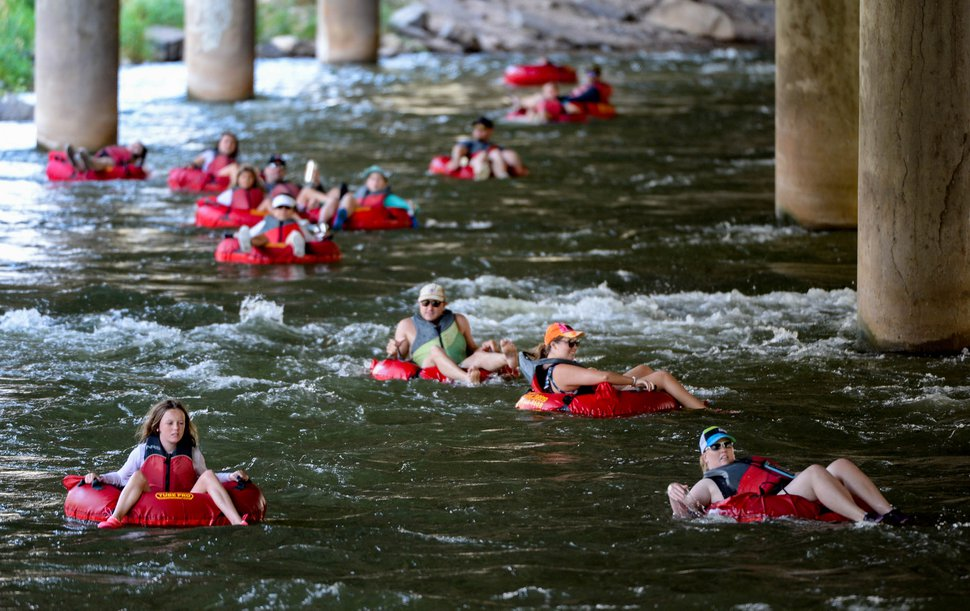 (Francisco Kjolseth | The Salt Lake Tribune) People beat the heat as they float the Weber River between Henefer and Taggart Falls on Wednesday, Aug. 5, 2020.