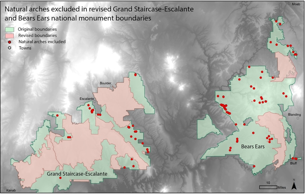 (Photo courtesy of University of Utah Geohazards Research) Pictured is a map of the 115 arches documented to be cut out of the former monument designations at Bears Ears and Grand Staircase-Escalante.