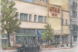 (Salt Lake City, via Modern Out West) Watercolor of Main Street exterior. Before demolition, the once-majestic Utah Theater on Salt Lake City's Main Street — a dilapidated and vacant 102-year-old performing arts hall once known as Pantages Theater —is being documented in a vast digital archive, hosted by J. Willard Marriott Library at the University of Utah.