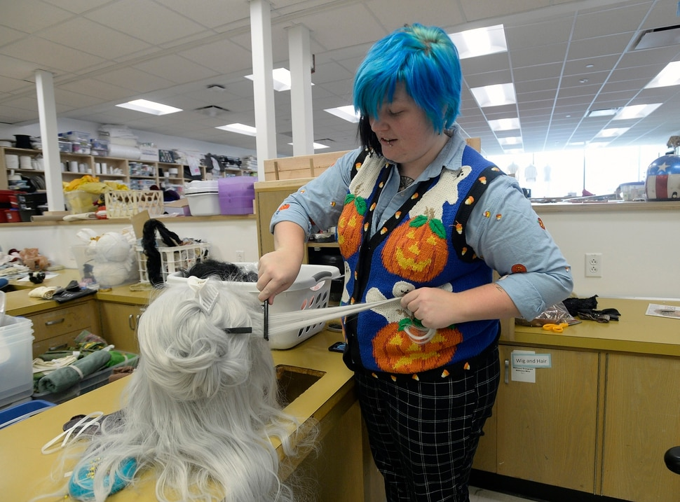 (Al Hartmann | The Salt Lake Tribune) Utah State University is getting ready to reopen the renovated Chase Fine Arts Center, an arts complex that includes the totally remodeled Daines Concert Hall. Graduate student Sara Shouse works on a wig for an upcoming theater production in the newly remodeled costume shop.