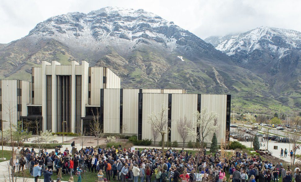 (Rick Egan | The Salt Lake Tribune) Hundreds of students gather on the campus of Brigham Young University, for a rally to oppose how the school's Honor Code Office investigates and disciplines students, Friday, April 12, 2019, in Provo, Utah.