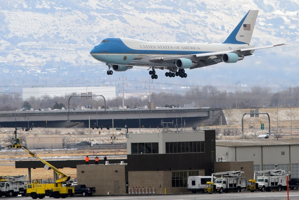(Steve Griffin | The Salt Lake Tribune) Air Force One lands at Salt Lake City International Airport as President Donald Trump visits Salt Lake City on Monday, Dec. 4, 2017.