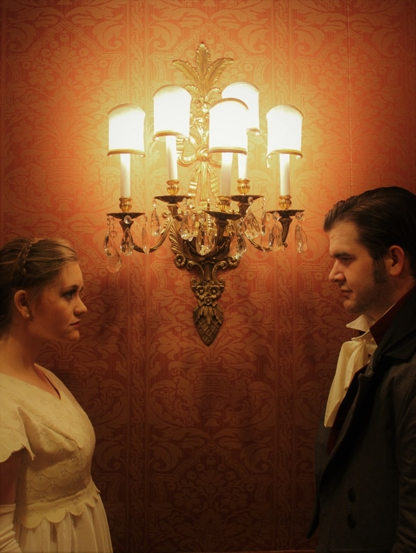(Sophie McConkie | Courtesy) West Side Theatre Company's Sydney Carlson plays Elizabeth Bennet, and David Peterson plays Mr. Darcy in a new musical adaptation of