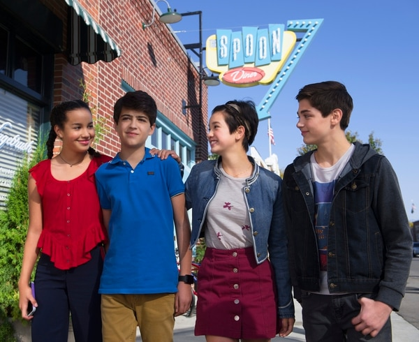 """(Photo courtesy Fred Hayes/Disney Channel) Sofia Wylie, Joshua Rush, Peyton Elizabeth Lee and Asher Angel in Magna during the filming of """"Andi Mack."""""""