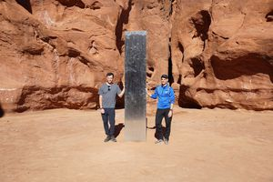 (Zak Podmore | The Salt Lake Tribune) Brad Zercoe, left, and JP Baker were in Utah for vacation when they heard of the obelisk and decided to go find it. Nov. 25, 2020.