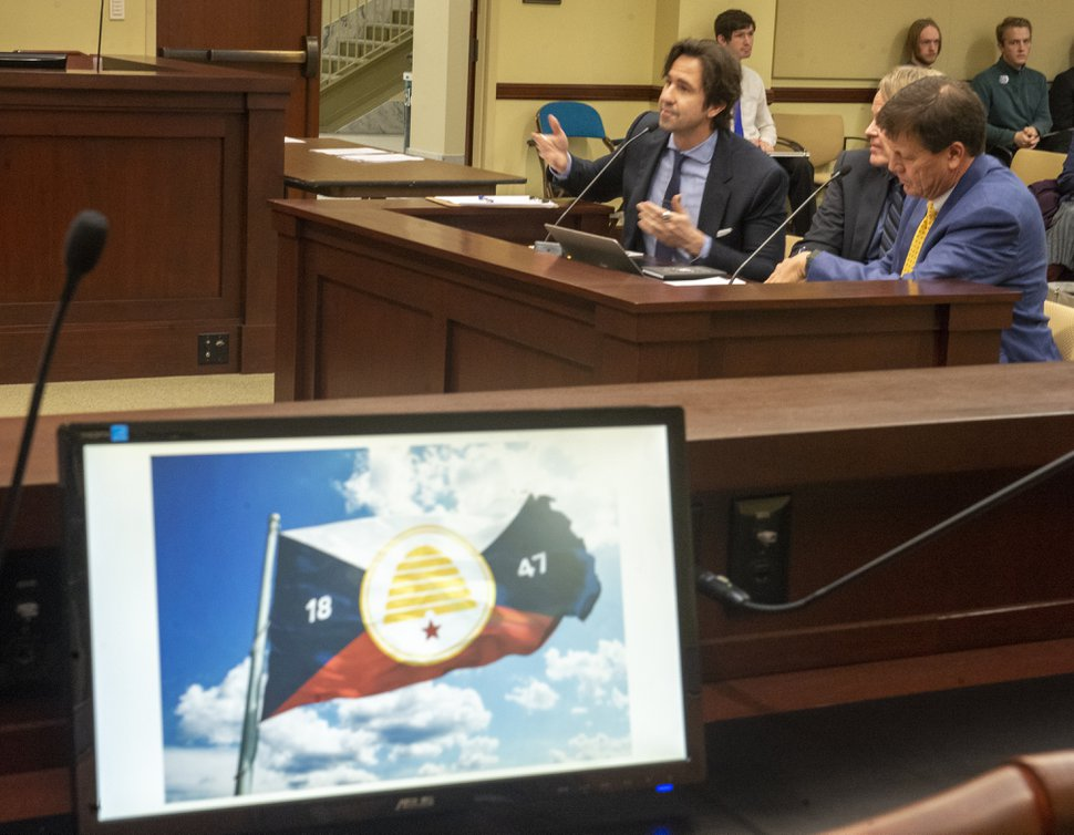 (Rick Egan | Tribune file photo) In this Feb. 13, 2019, file photo, flag designer John Martin, speaks about the new Utah Flag he designed, during the discussion of one of the two bills introduced in last year's legislative session. Both failed. Rep. Steve Handy has once again filed a bill to update the state flag.