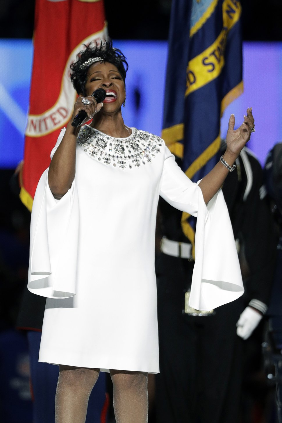 (AP Photo/David J. Phillip) Gladys Knight sings the national anthem before the Super Bowl on Sunday, Feb. 3, 2019, in Atlanta.
