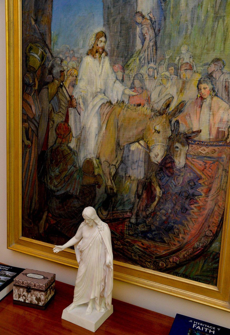 "(Francisco Kjolseth   The Salt Lake Tribune) The LDS Church plans to remove three original paintings by LDS artist Minerva Teichert from an east Salt Lake City meetinghouse, including ""Jesus Entering Jerusalem,"