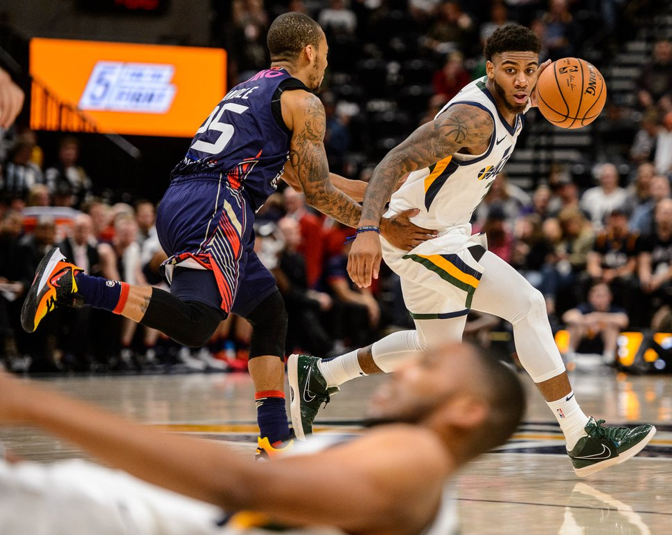 (Trent Nelson | The Salt Lake Tribune) Utah Jazz guard Justin Wright-Foreman (3) defended by Adelaide 36ers' Jerome Randle (25) as the Utah Jazz host the Adelaide 36ers, NBA basketball in Salt Lake City on Saturday Oct. 5, 2019.