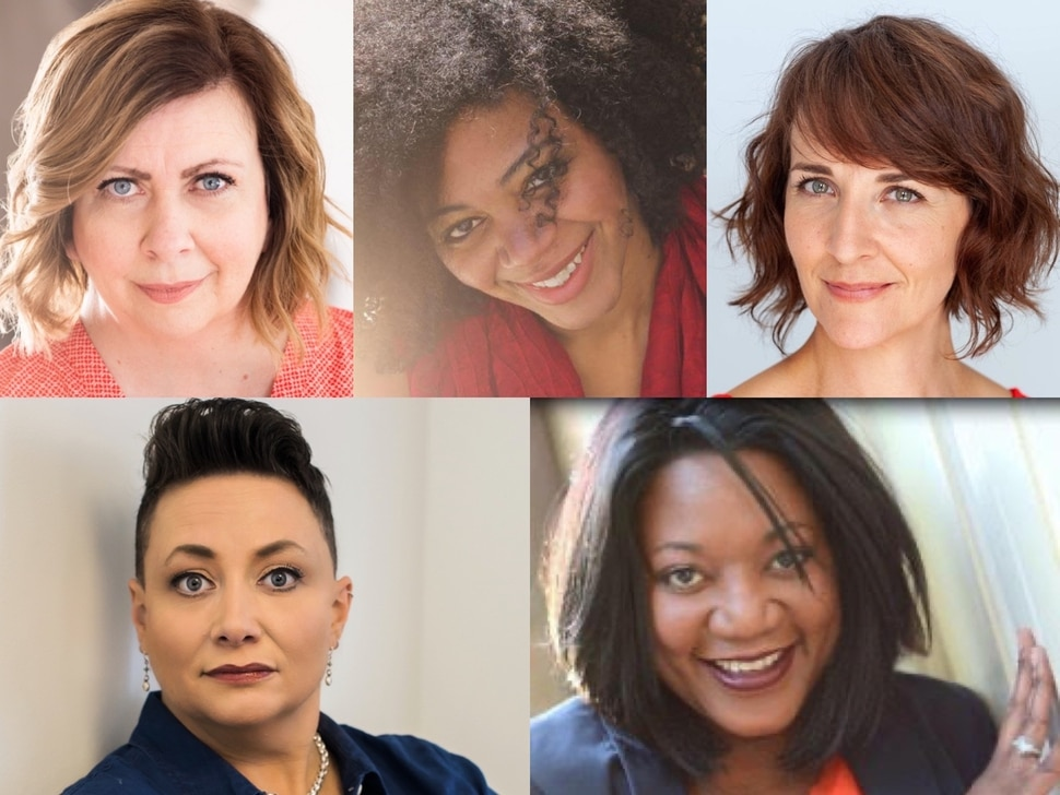 """(Photo courtesy of Salt Lake Acting Company) Clockwise from upper left: Colleen Baum stars as Susan; Latoya Jackson as Zoe; Susanna Florence as Helen; Yolanda Stange as Rosetta; and Tamara Howell as Mrs. Stanton in """"Four Women Talking About the Man Under The Sheet."""""""