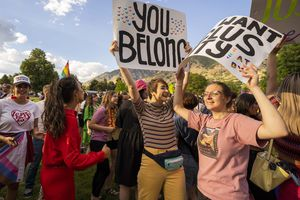 (Rick Egan   The Salt Lake Tribune) More than a thousand BYU students, friends and allies dance to the music of Lady Gaga, Brittney Spears and Taylor Swift, after a Pride March from Joaquin Park to Kiwanis Park, in Provo, on Monday, June 28, 2021.