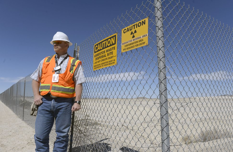 (Al Hartmann | Tribune file photo) David Squires, general manager at Clive Operations for EnergySolutions, stands next to an area ready to accept large quantities of depleted uranium on April 2, 2015.