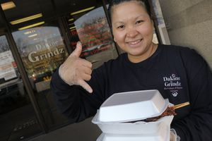 (Leah Hogsten   The Salt Lake Tribune) Dakine Grindz restaurant owner Leilani Bugtong was born in the Philippines, but grew up in Hawaii. She serves both cuisines at her restaurant in Sunset, Jan. 11, 2021.
