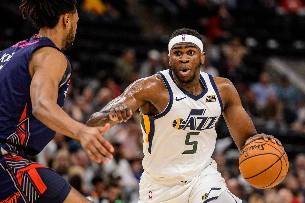 (Trent Nelson   The Salt Lake Tribune) Utah Jazz forward Jarrell Brantley (5) as the Utah Jazz host the Adelaide 36ers, NBA basketball in Salt Lake City on Saturday Oct. 5, 2019.