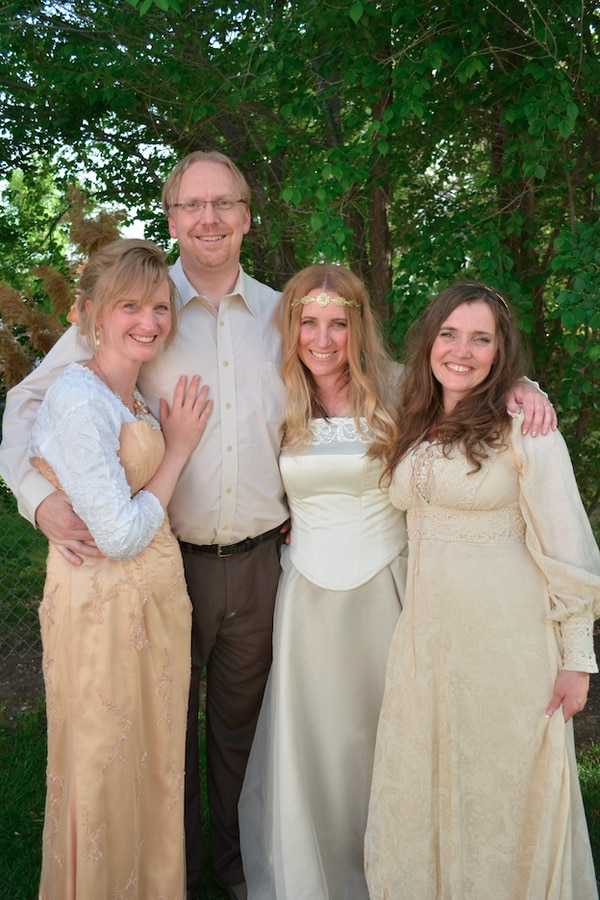 Auralee, left, husband Drew, and sister wives Angela and April Briney as Drew and Angela enter into a plural marriage. Photo courtesy Briney family.