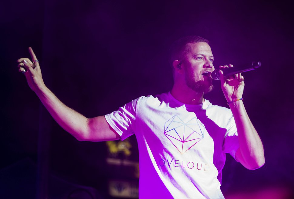 (Rick Egan | The Salt Lake Tribune) Dan Reynolds sings for Imagine Dragons at the LoveLoud Festival at Brent Brown Ballpark at UVU campus, Saturday, Aug. 26, 2017.