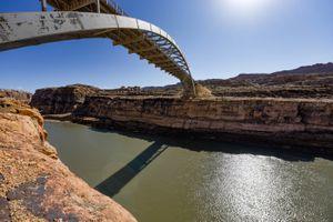 (Francisco Kjolseth  | The Salt Lake Tribune) Hite Crossing Bridge stretches over the Colorado River as it flows into Lake Powell near Hite Marina on Thursday, Feb. 4, 2021.