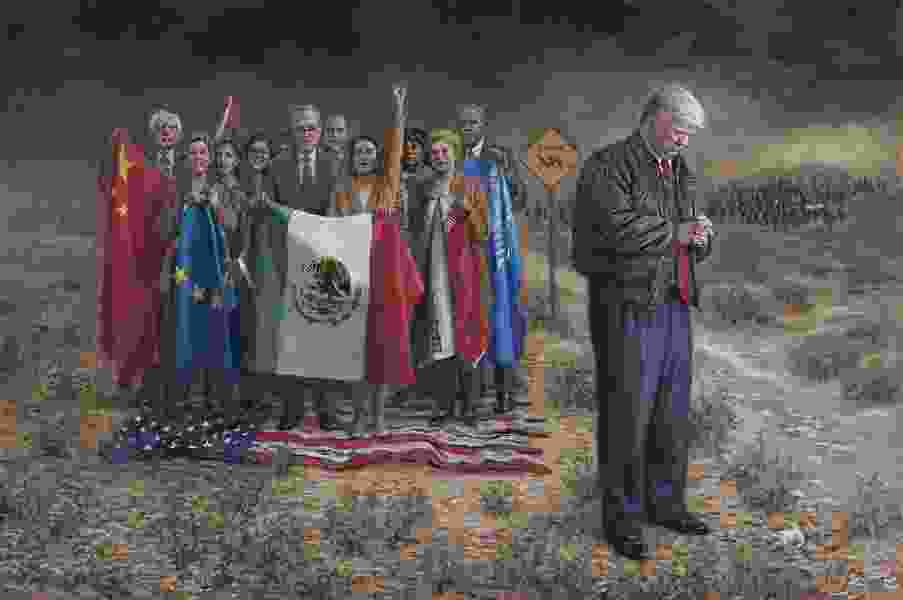 Provo political painter Jon McNaughton puts Donald Trump at the border with Alexandria Ocasio-Cortez and others in his progressive rogues' gallery