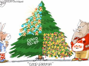 "(Pat Bagley | The Salt Lake Tribune)  This cartoon, titled ""Half a Loaf,"" appears in The Salt Lake Tribune on Tuesday, Dec. 22, 2020."