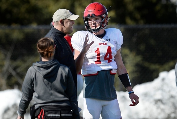 Scott Sommerdorf | The Salt Lake Tribune QB Jack Tuttle talks with offensive coordinator Troy Taylor at Utah spring football practice, Saturday, March 10, 2018.