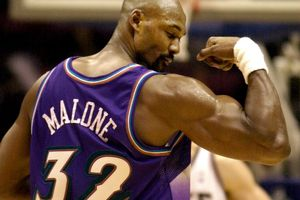 ** FILE ** Utah Jazz forward Karl Malone displays his muscle to the New Jersey Nets fans after leading all scorers with 31 points as the Jazz beat the Nets 104-90 Saturday night, Dec. 22, 2001, in East Rutherford, N.J. Malone, who for 18 seasons as a member of the Utah Jazz teamed with guard John Stockton to form one of the NBA's most legendary duos, will announce his retirement on Sunday, the Jazz said in a news release Friday.  (AP Photo/Bill Kostroun)