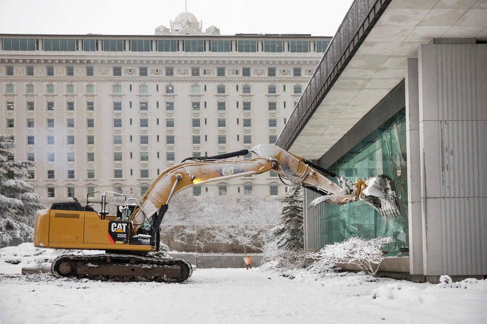 (Photo courtesy of The Church of Jesus Christ of Latter-day Saints) Demolition of the South Visitors' Center on Temple Square began on Friday, Jan. 17, 2020.