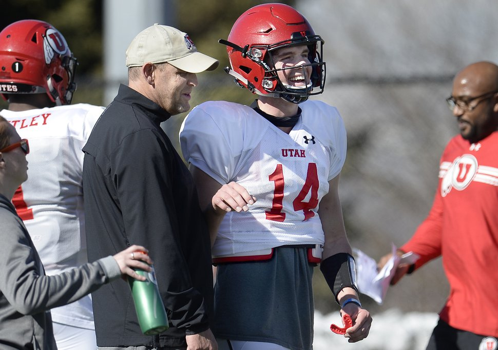 Scott Sommerdorf | The Salt Lake Tribune QB Jack Tuttle talks with offensive coordinator Troy Taylor at Utah spring football practice, Saturday, March 10, 2018.