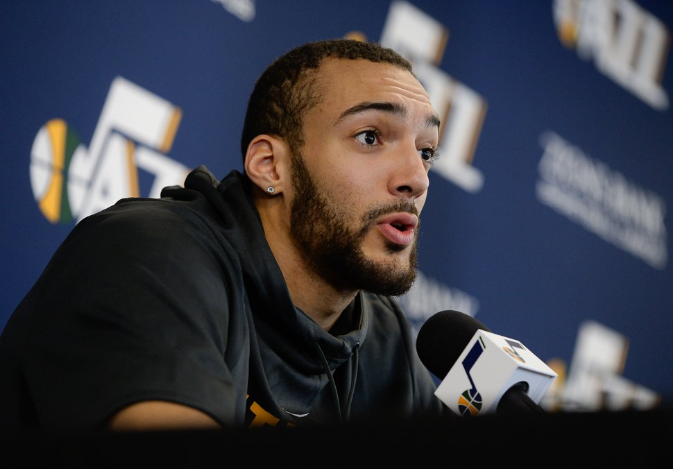 (Francisco Kjolseth | The Salt Lake Tribune) Utah Jazz center Rudy Gobert speaks with the media during exit interviews at their practice facility in Salt Lake City Wed., May 8, 2018, after losing to the Houston Rockets in game 5 of their Western Conference Finals during the 2018 NBA Playoffs.