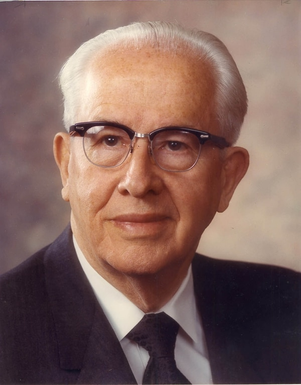 Ezra Taft Benson largely retired from public view in his final years as LDS Church president. His counselors in the faith's governing First Presidency then took on more visible roles. File Photo