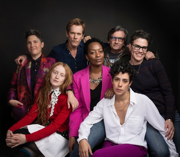 Series creator Jill Soloway, from top left, actor Kevin Bacon, actor Griffin Dunne, writer Sarah Gubbins, actress India Menuez, from bottom left, actress Lily Mojekwu and actress Roberta Colindrez pose for a portrait to promote the series,