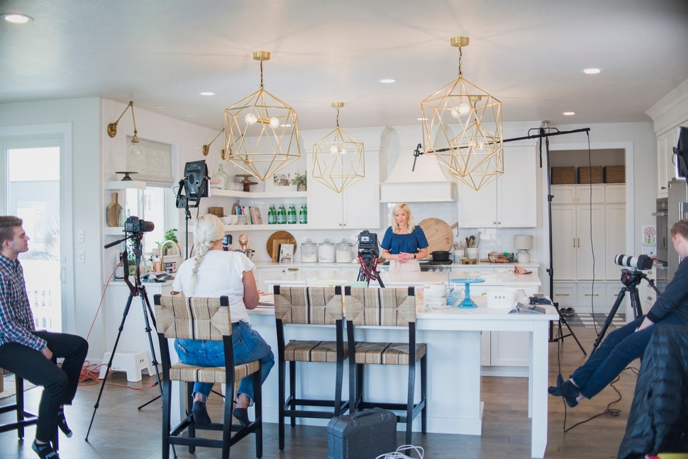 (Photo by Trina Harris Photography   Courtesy of Courtney Rich) Courtney Rich films one of her online cake classes in her kitchen in her Utah County home.
