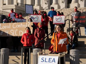 (Trent Nelson | The Salt Lake Tribune) Salt Lake City School District teachers and students rally at the state Capitol in Salt Lake City on Wednesday, Feb. 24, 2021.