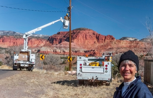 Scott T. Smith | Courtesy Mary Bedingfieldsmith watching replacement of Torrey streetlights with dark sky friendly lights.