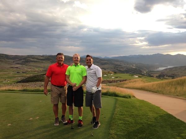 Photo courtesy Brady Whittingham: Utah coach Kyle Whittingham golfing with son Tyler and brother Brady.