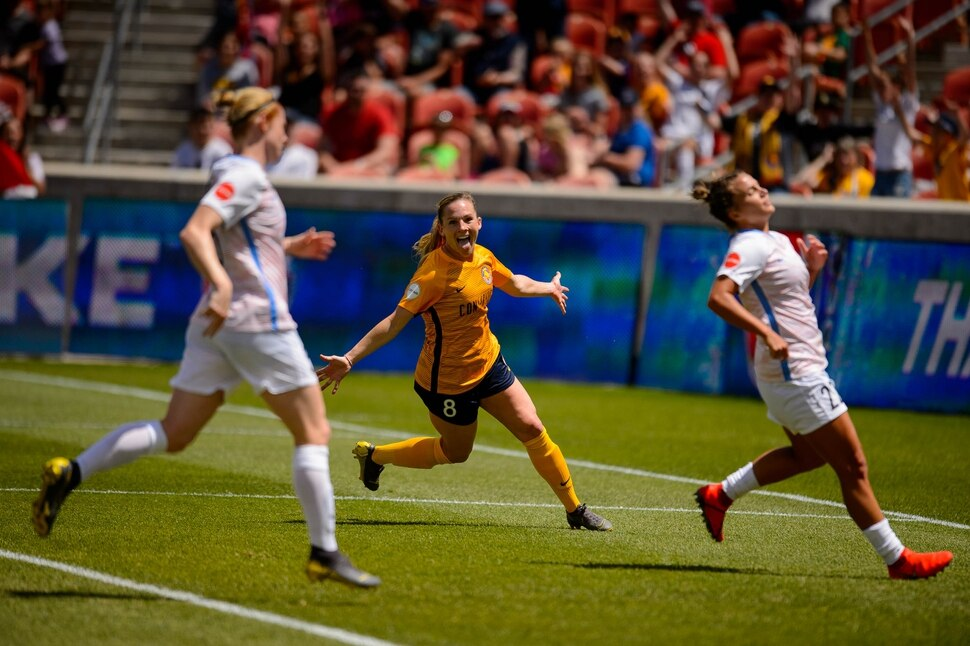 (Trent Nelson | The Salt Lake Tribune) Utah Royals FC forward Amy Rodriguez (8) celebrates her first half goal as Utah Royals FC hosts the Houston Dash at Rio Tinto Stadium in Sandy on Saturday May 11, 2019.