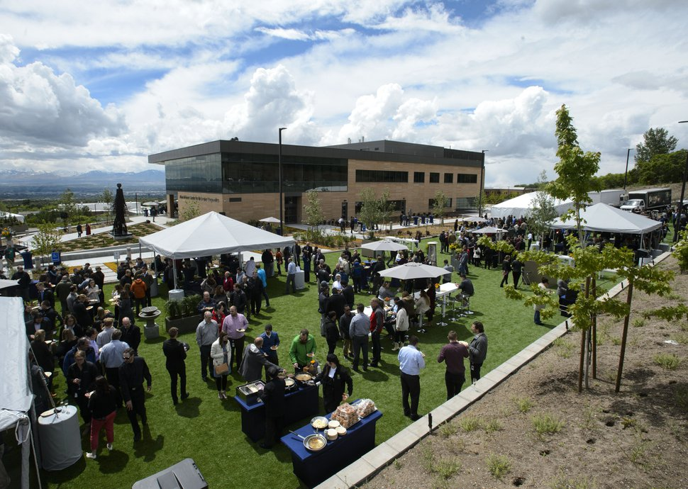 Steve Griffin | The Salt Lake Tribune More than 850 BioFire employees, local dignitaries and building contractors celebrate the opening of BioFire Diagnostics, LLC, (a bioMŽrieux company) at their new home in Research Park in new home Salt Lake City Wednesday May 17, 2017.