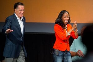 (Trent Nelson | Tribune file photo) Mitt Romney speaks at a rally to support Rep. Mia Love's 2014 election.