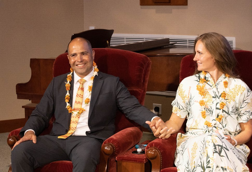 """(Photo courtesy of The Church of Jesus Christ of Latter-day Saints) John """"Keoni"""" Kauwe and his wife, Monica, will succeed John S. Tanner and his wife, Susan, who have served at BYU–Hawaii since 2015."""