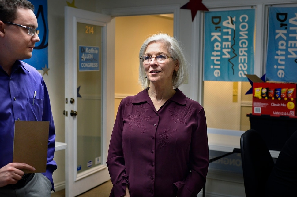 (Scott Sommerdorf | The Salt Lake Tribune) Democrat Kathie Allen with campaign manager Daniel Friend, in her campaign offices, Thursday, September 14, 2017. Allen is running for former Utah Rep. Jason Chaffetz's seat.