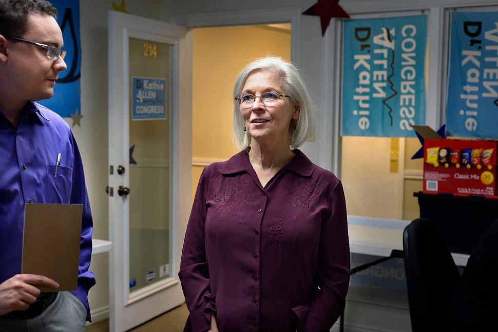 (Scott Sommerdorf | The Salt Lake Tribune) Democrat Kathie Allen with campaign manager Daniel Friend, in her campaign offices, Thursday, September 14, 2017. Allen is running for former Utah Rep. Jason Chaffetz's seat.